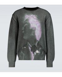 Dries Van Noten Jersey de cuello redondo de algodón - Gris