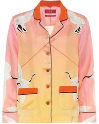 F.R.S For Restless Sleepers Pyjama-Oberteil Ade aus Seide - Mehrfarbig