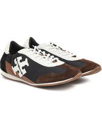 Tory Burch Vintage Suede-trimmed Sneakers - Black
