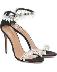 Aquazzura Exquisite 105 Embellished Satin Sandals - Black