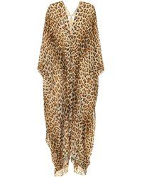 Roberto Cavalli Leopard-print Silk Kaftan - Natural