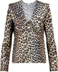Ganni Blouse en coton à motif léopard - Marron