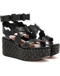 Alaïa Studded Leather Plateau Sandals - Black