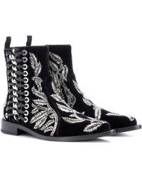Alexander McQueen - Braided Chain Velvet Ankle Boots - Lyst