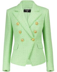 Balmain Blazer aus Tweed - Grün