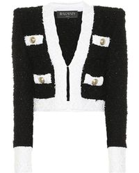 Balmain Veste raccourcie en tweed de coton mélangé - Noir