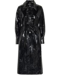 ALEXACHUNG Belted Vinyl Shirt Dress - Black