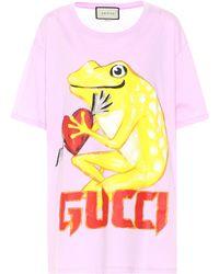 Gucci - Printed Cotton T-shirt - Lyst