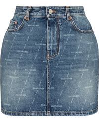Balenciaga Logo Denim Miniskirt - Blue