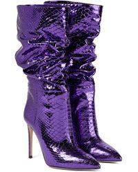 Paris Texas Python-effect Leather Boots - Purple