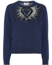 Fendi Pullover in cashmere con paillettes - Blu