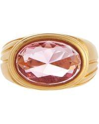 Timeless Pearly Vergoldeter Ring mit Kristall - Mettallic