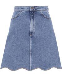 M.i.h Jeans Scalloped Denim Skirt - Blue