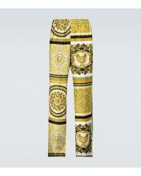 Versace Pantalones de seda estampados - Metálico