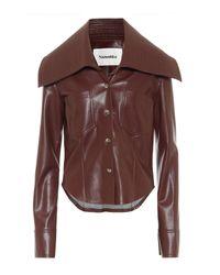 Nanushka Kiara Faux Leather Shirt - Brown