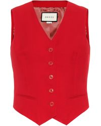 Gucci Wool And Silk-blend Waistcoat - Red