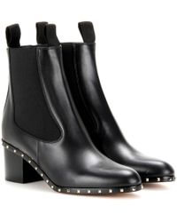 Valentino Ankle Boots Soul Rockstud aus Leder - Schwarz