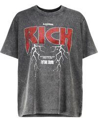 Alessandra Rich Printed Cotton T-shirt - Grey