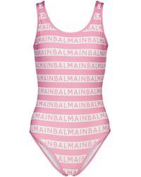 Balmain Badeanzug mit Logo - Pink