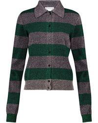 Victoria Beckham - Striped Cotton-blend Cardigan - Lyst