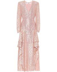 Stella McCartney Lurex Embroidered Maxi Dress - Pink