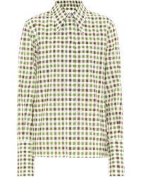 Victoria Beckham Camisa de algodón de cuadros - Multicolor