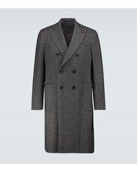 Lardini Double-breasted Herringbone Coat - Grey