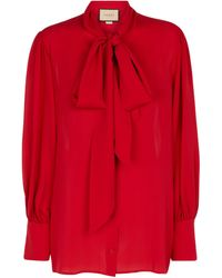Gucci Tie-neck Ruffled Silk Blouse - Red