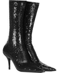 Balenciaga Knife Booties Sequins - Black