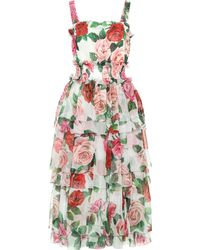 Dolce & Gabbana Midikleid aus Seide - Mehrfarbig