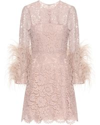 Valentino - Feather-trimmed Lace Minidress - Lyst