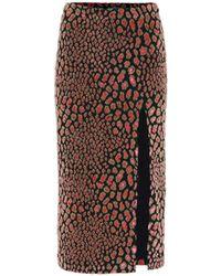Caroline Constas Leo Velvet Midi Skirt - Multicolour