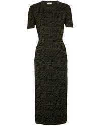 Fendi Ff Jacquard Midi Dress - Green