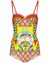 Dolce & Gabbana - Printed Swimsuit - Lyst