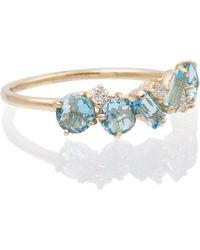 Suzanne Kalan Bague en or 14 ct, topaze et diamants - Bleu