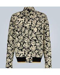 Marni Eyed Leaves Print Bomber Shirt - Black