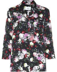 Erdem Ray Floral Satin Pajama Top - Black