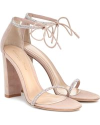 Gianvito Rossi Ankle-tie Crystal-embellished Iridescent Suede Sandals - Multicolor