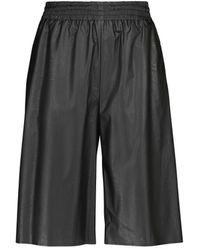 MM6 by Maison Martin Margiela Faux Leather Bermuda Shorts - Black