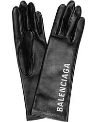 Balenciaga - Printed Leather Gloves - Lyst