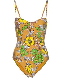 Tory Burch Floral Swimsuit - Brown