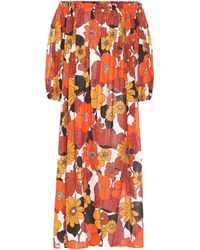 Dodo Bar Or Julie Off-the-shoulder Floral-print Cotton Dress - Orange