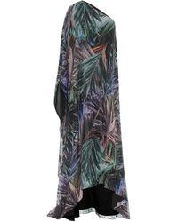 Halpern One-Shoulder-Robe aus Georgette - Mehrfarbig