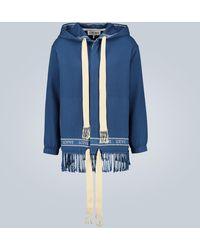 Loewe Marino Fringed Hooded Jacket - Blue