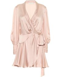 Zimmermann Robe portefeuille Lovestruck en satin de soie - Rose
