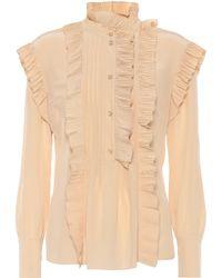 Chloé Ruffle-trimmed Silk Blouse - Natural