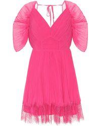 Self-Portrait Lace-trimmed Chiffon Minidress - Pink