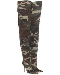 Vetements Camo Canvas Over-the-knee Boots - Green
