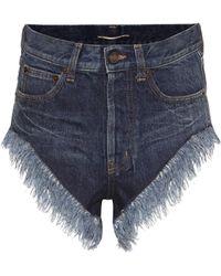 Saint Laurent Fringed High-rise Denim Shorts - Blue