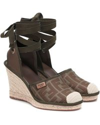 Fendi Roma Wedge Espadrilles - Brown